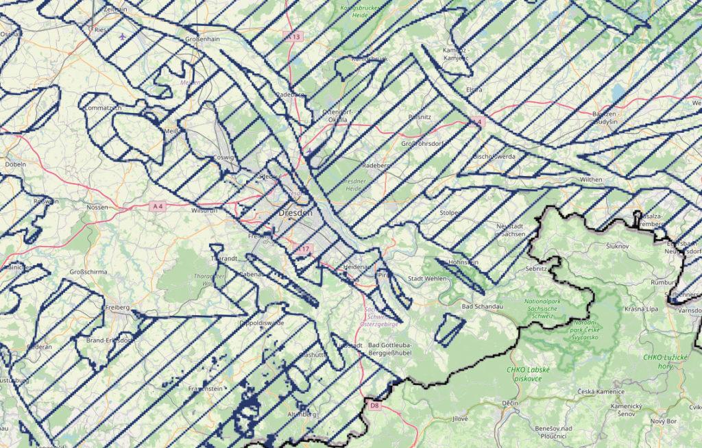 Karte des Teilgebiets im Ost-Erzgebirge